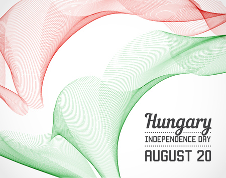 blending: National Day of Hungary Country in Blending Lines Style with Date