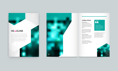 Visual identity with letter elements style Letterhead and geometric blur gradient mesh design style brochure cover template mock ups for business set with Fictitious name Illustration