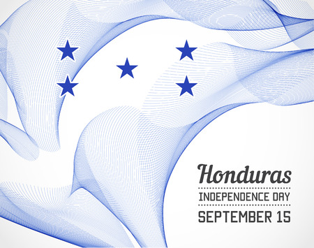blending: National Day of Honduras Country in Blending Lines Style with Date Illustration
