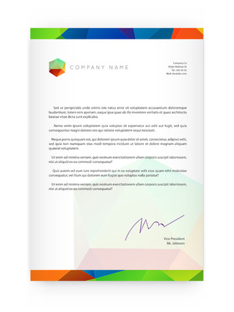 Visual identity with letter elements polygonal style Letterhead and geometric triangular design style brochure cover template mock ups for business with Fictitious name Illusztráció