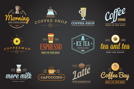incorporated: Set of Coffee Templates and Coffee Accessories Illustration with Incorporated Icons with Fictitious Names