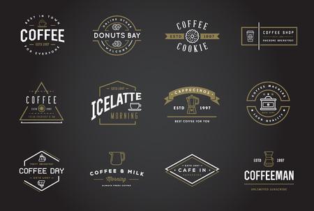 molinillo: Conjunto de plantillas y accesorios del café Ilustración con Incorporated iconos con nombres ficticios