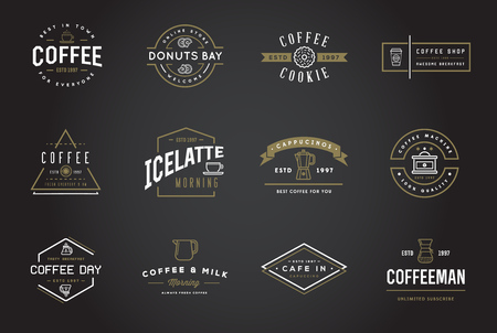 coffee shop: Set of Coffee Templates and Coffee Accessories Illustration with Incorporated Icons with Fictitious Names