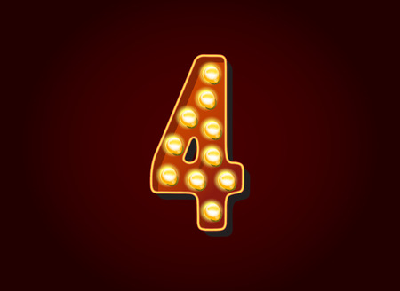 show case: Casino or Broadway Signs style light bulb Digits Numbers Character