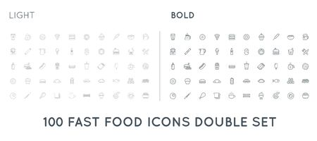 Set of Thin and Bold Fast Food Elements Icons and Equipment as Illustration