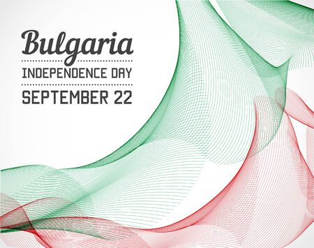 blending: National Day of Bulgaria Country in Blending Lines Style with Date Illustration