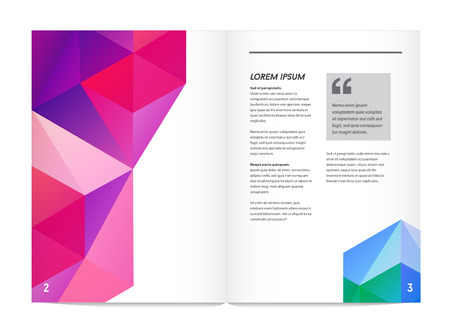 ups: Visual identity with letter elements polygonal style Letterhead and geometric triangular design style brochure cover template mock ups for business with Fictitious name Illustration