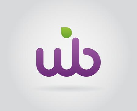 W b の文字のアイコン デザイン テンプレート要素  イラスト・ベクター素材