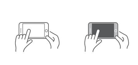 Set of Icons with Hands Holding Smart Device with Gestures Illustration