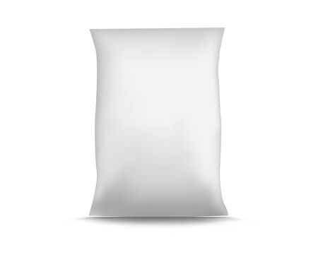 render: Blank White Foil Food Packaging illustration Isolated Mock Up Template Package