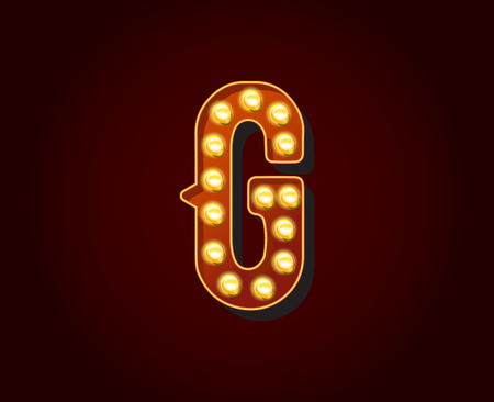show case: Casino or Broadway Signs style light bulb Alphabet  G Letter Character Illustration