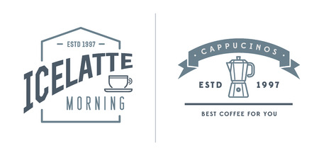 fictitious: Set of Coffee Templates and Coffee Accessories Illustration with Incorporated Icons with Fictitious Names
