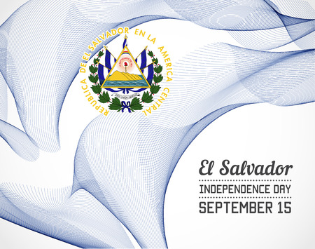 National Day of El Salvador Country in Blending Lines Style with Date Illustration
