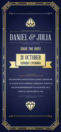 Great Quality Style Invitation in Art Deco or Nouveau Epoch 1920s Gangster Era Ilustrace