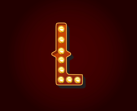show case: Casino or Broadway Signs style light bulb Alphabet Letter Character L Illustration