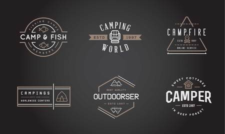 hatchet: Set of Camping Camp Elements With Fictitious Names and Outdoor Activity Icons Illustration Illustration