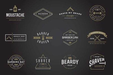 antique shop: Set of Barber Shop Elements and Shave Shop Icons Illustration Illustration