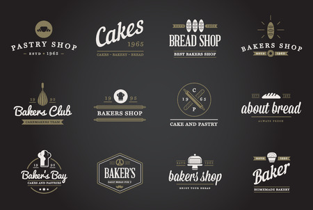 coffee spoon: Set of Bakery Pastry Elements and Bread Icons Illustration