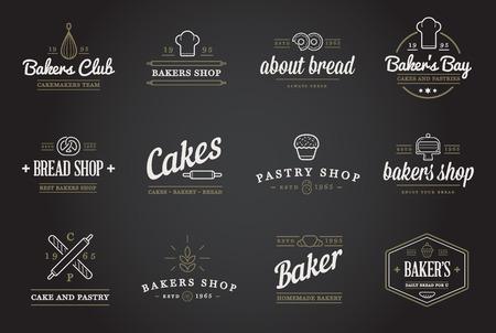 nudelholz: Satz von Bäckerei Konditorei Elemente und Bread icons