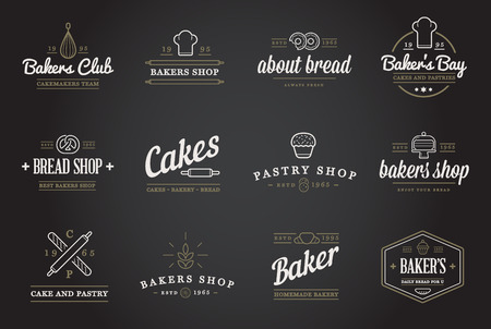 pastry shop: Set of Bakery Pastry Elements and Bread Icons Illustration