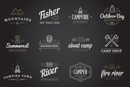 forest river: Set of Camping Camp Elements and Outdoor Activity Icons Illustration