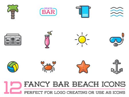 to sunbathe: Set of Beach Sea Bar Flat Icons