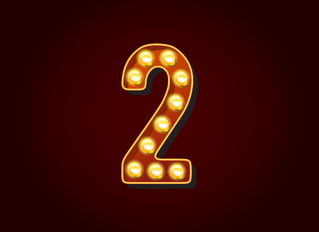 show case: Casino or Broadway Signs style light bulb Digits Numbers Character 2 Illustration