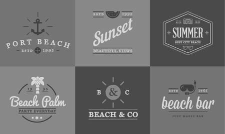 sunglasses beach: Set of Beach Sea Bar Elements