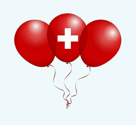 flotation: Balloons as Switzerland National Flag