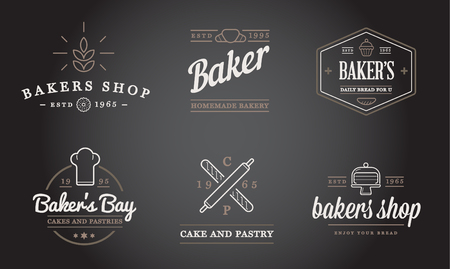 bakery shop: Set of Bakery Pastry Elements and Bread Icons Illustration