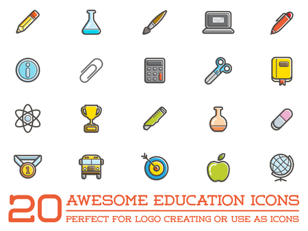 calc: Set of Education Icons Illustration Illustration
