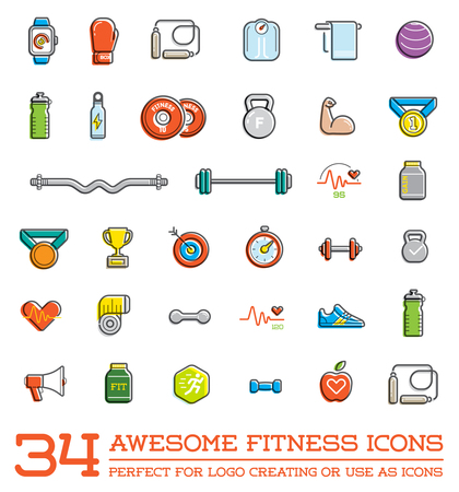 Conjunto de fitness Aerobic Gimnasio Elementos y Física Iconos Ilustración