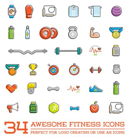 Set di Aerobica Fitness Gym Elements e stato di forma icone illustrazione