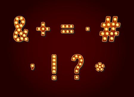Casino o bombilla estilo Broadway señales símbolos especiales