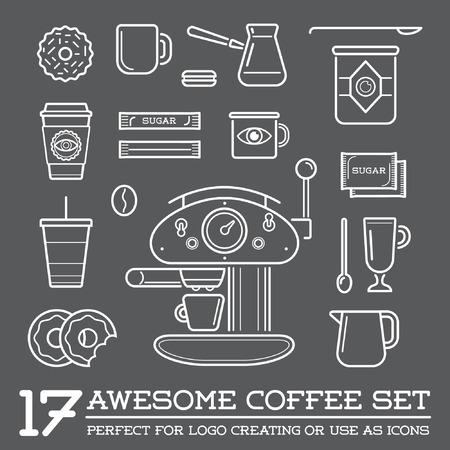 taza de café: Conjunto de elementos del café y accesorios de café Ilustración