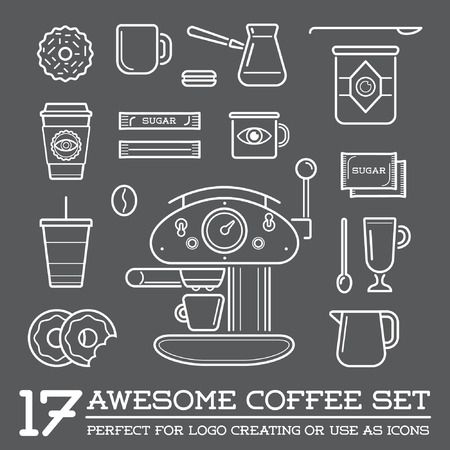 Set of Coffee Elements and Coffee Accessories Illustration Illustration