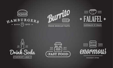 brownie: Set of Fastfood Fast Food Elements Icons and Equipment as Illustration