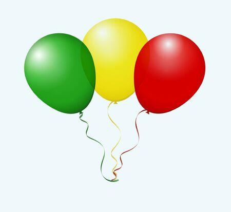 flotation: Balloons as Mali National Flag Illustration