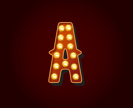 show case: Casino or Broadway Signs style light bulb Alphabet Letter Character A Illustration
