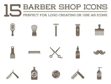 peluquerias: Conjunto de la peluquería de caballeros Elementos y Shave compras los iconos Ilustración Vectores
