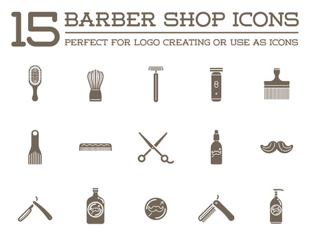 Set of Barber Shop Elements and Shave Shop Icons Illustration Vettoriali