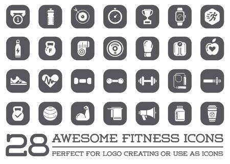 Set Fitness Aerobic Gym Elemente und Fitness icons