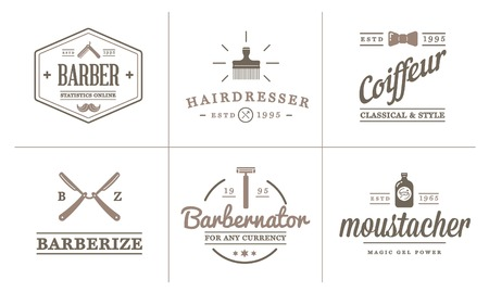 hair style collection: Set of Vector Barber Shop Elements and Shave Shop Icons Illustration can be used as Logo or Icon in premium quality