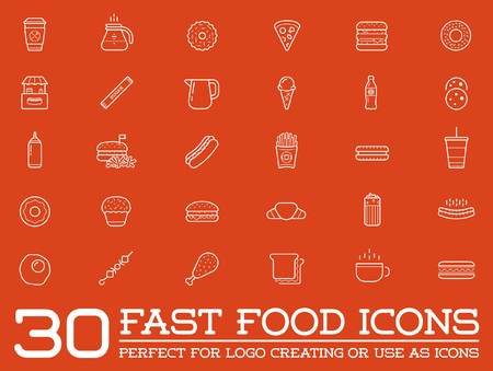 Set of Vector Fastfood Fast Food Elements Icons and Equipment as Illustration can be used as Logo or Icon in premium quality