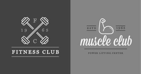Zestaw wektora Fitness Aerobik Siłownia i fitness Elements ikony ilustracje może być używany jako logo lub ikonę w najwyższej jakości