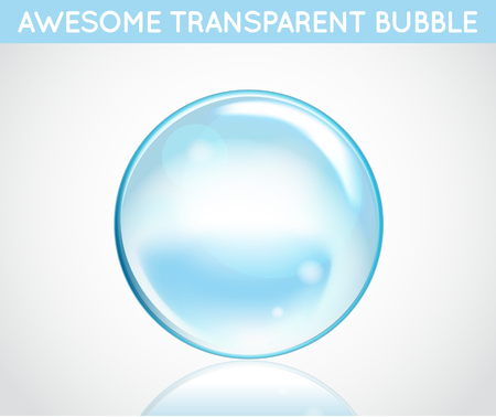 Vector Soap Water Bubbles. Transparent Isolated Realistic Design Elements. Can be used with any Background. Vettoriali