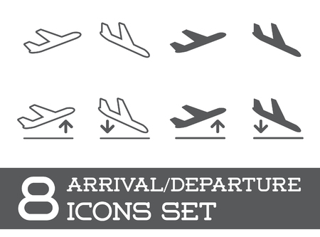 aeroplane: Aircraft or Airplane Icons Set Collection Silhouette, Arrivals and Departure
