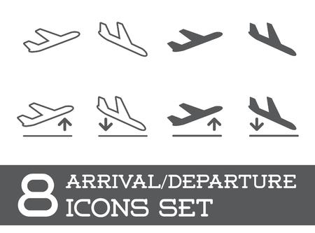 Vliegtuig of vliegtuig Icons Set Collection Silhouet, Aankomst en vertrek