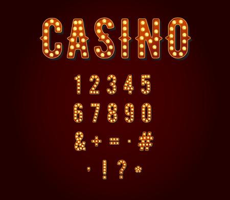 カジノやブロードウェイの看板スタイル電球数字または番号  イラスト・ベクター素材