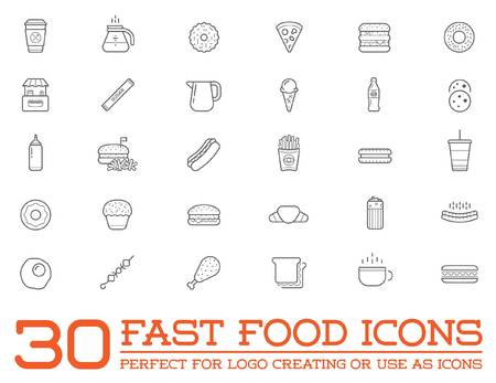 egg cups: Set of Fastfood Fast Food Elements Icons and Equipment as Illustration